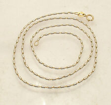 "17"" 1mm Solid Barrel Tube Chain Necklace Genuine Real 14K Yellow White Gold"