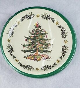 """Spode Tree With Stars Paper Plates 8"""" Lunch/Dessert Sealed Pack Of 16 Christmas"""