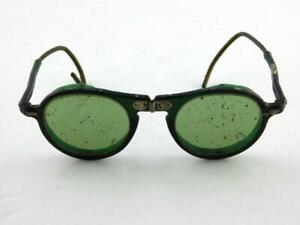 Willson Foldable Green Lens Safety Glasses 6 1/2 USA Steampunk GREAT VALUE