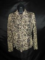 Vintage Rafael L Junior Brown Black Leopard Print Blouse Stretch Knit Shirt JR