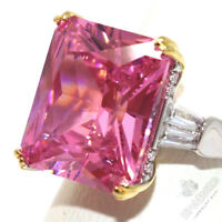 Large 5CT Princess Pink Sapphire Ring Women Birthday Jewelry White Gold Plated