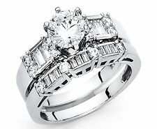 2.00 CT Round baguette Cut Engagement Ring band set 14k White Gold Finish