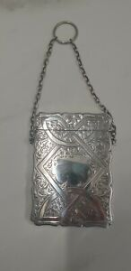 antique Birmingham silver 1905 calling card case
