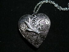 ANTIQUE SILVER LILY OF THE VALLEY VICTORIAN HEART LOCKET