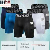 A4 Mens Compression Shorts Briefs Tights Gym Quick Dry Under Pants Sport Wear US