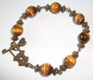 Tigers Eye Gemstone and Antique Bronze Style Bracelet