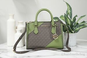 Michael Kors Hope Leather Medium Evergreen Multi Messenger Crossbody Handbag
