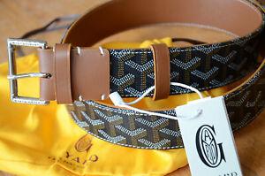 GOYARD Monogram BROWN Leather Belt SILVER Buckle sz 100 / 40 fits 34-36 Monogram