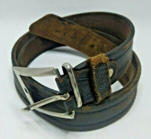 Old Leather Belt Solid Buckle Vintage Brown Antique Belt