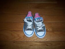 Youth's Converse All Star Double Tongue Classic Low Top Sneakers Gray/Pink 13