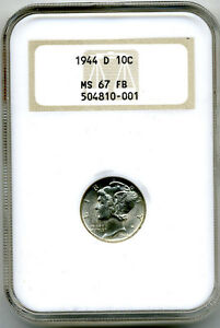 1944-D MERCURY DIME (10¢) NGC MS67 FB (SCARCE FULL BANDS COIN)