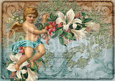 Shabby Chic Victorian Cherubs Collage #1 - 8x10 Quilt or Crafting Fabric Block