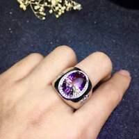 Men Romantic Certified Ametrine Quartz 925 Sterling Silver Ring Wedding Gifts