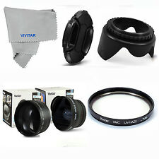 WIDE ANGLE+TELEPHOTO+MACRO +UV FILTER + HOOD+LENS CAP+FOR NIKON D5300 D3000 D80