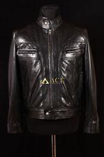Leather Zip Neck Biker Jackets for Men