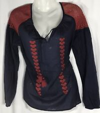 Roberta Rabbit Navy & Red embroidered Peasant Top XS NWT!!
