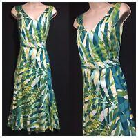 PER UNA Women's 16 Emerald Green Rainforest Jungle Leaf Womens Midi Dress Cotton