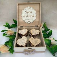 Wedding Wish Box Wooden Personalised with 100 Large Hearts Guest Book White