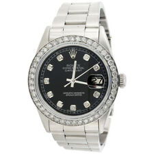 Mens Rolex 36mm DateJust 16014 Diamond Watch Oyster Band Glossy Black Dial 2 CT.