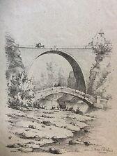 Pierre-Perthuis Pont sur la Cure lithographie circa 1860 Bourgogne