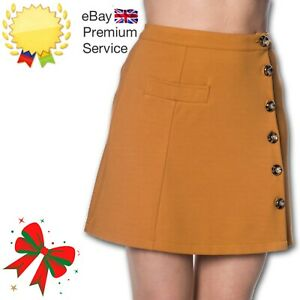 Banned Apparel Retro 60s Beatrice Button Brown A-Line Pocket Skirt UK Size 6-16