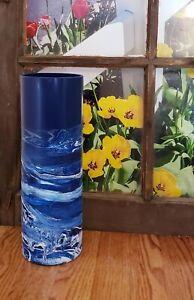 Tall Navy Blue Glass Vase 16 inch/Hand Painted Blue White Floor Vase