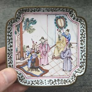 Antique Chinese Canton Enamel On Copper Pin Dish With Mark
