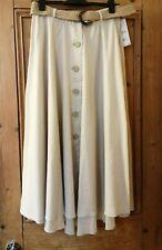 ZARA Linen Blend Natural Button Down Rustic Midi Skirt With Belt XS S M L BNWT
