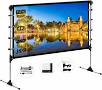 Projector Screen with Stand 100 inch Indoor Outdoor Movie Projection Screen 16:9