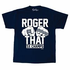 Roger That ! Patriots Champions Rings Tom Brady Blue T Shirt Mens XLarge FREESP