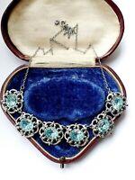 Vintage Necklace Silver Tone Blue Rhinestones