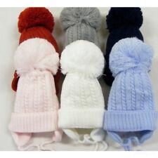 Stunning Baby Infant White Big Pom Pom Hat with Tie Mega Pom 6-12 to 2-4 Years