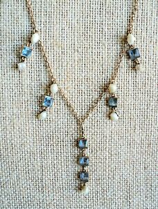 """Vintage 14K GOLD Choker NECKLACE with PEARL & AQUAMARINE DANGLES Delicate 16"""""""