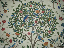 """WILLIAM MORRIS CURTAIN FABRIC """"Kelmscott Tree"""" 2.4 METRES (240cm) WOAD & WINE"""