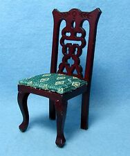 Dollhouse Miniature Kitchen / Dining Room Chair Green Diamond Fabric ~ T3282