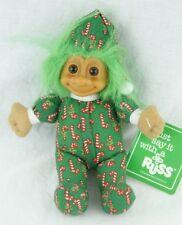 "Russ Christmas Elf Green Troll Candy Cane Plush 7"" Stuffed Animal"