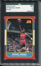 1986 Fleer Basketball #57 Michael Jordan Rookie Card RC Graded SGC 60 5 Bulls