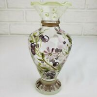 Tracy Porter Bud Vase Green Violet Floral Hand Painted Ruffled Edge & Label