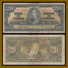 Canada 20 Dollars, 1937 P-62b Sig: Gordon-Towers King George VI Banknote (Cir)
