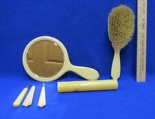 Vintage Womens Bakelite Vanity Set Hand Mirror Brush Nail Care Toothbrush Holder