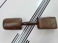 Antique Primitive Wooden Mallet / Masher and Wedge