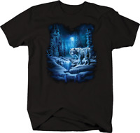 Majestic White Tiger in Snowy Mountain Forest Moonlight Night T-shirt