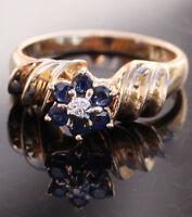 Vintage handmade 14k yellow gold 0.50ct sapphire diamond sz 6.5 ring 3.9g  #6002