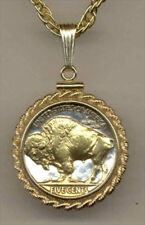 Silver & Gold Coin Necklace W/ Rope Bezel, US Buffalo nickel,1913 -1938 , #8