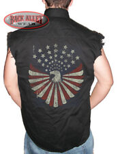 PATRIOTIC EAGLE DISTRESSED Sleeveless Denim Shirt Biker Cut Vest American Flag