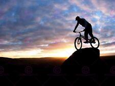 SPORT MOUNTAIN BIKE JUMP SILHOUETTE BICYCLE SUNSET POSTER ART PRINT LV11177