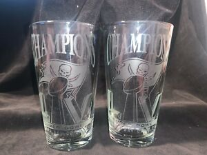 2021 SUPERBOWL 55 CHAMPION TAMPA BAY BUCCANEERS 2 ETCHED LOGO PINT GLASSES NEW