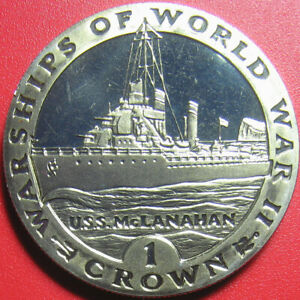 1993 GIBRALTAR 1 CROWN PROOF-LK USS MCLANAHAN UNITED STATES NAVY SHIP no silver