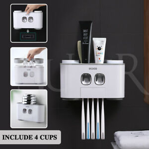 Automatic Toothpaste Dispenser Handfree Toothbrush Holder Set 5 Holder 4 Cup