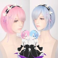 Re:Life In A Different World From Zero Rem Ram Anime Bobo Cosplay Wig Blue Pink